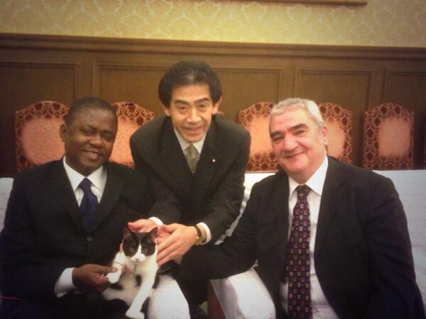 動物愛護の問題に取り組んでいます。18日国会にネコのお客さま。数多くの捨て猫、捨て犬が誰にも引き取られず殺処分されている。日本は動物愛護の世界では後進国。この問題に熱心な駐日ナイジェリア大使、アルジェリア大使が。取り組み強化です。 http://t.co/AHkxQifD4E