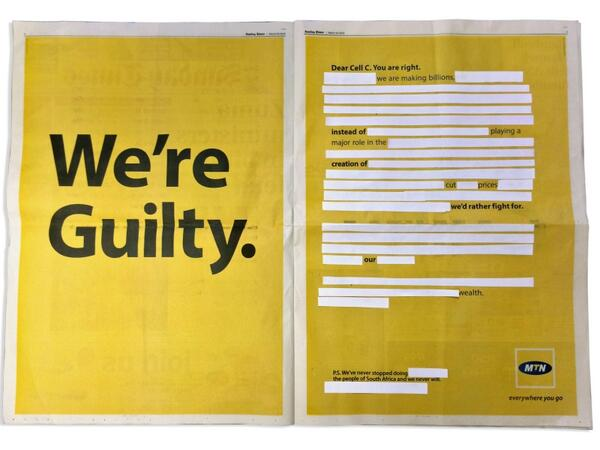 """Hilarious response from Cell C to MTN's """"We're Guilty"""" Sunday Times spread http://t.co/tf17VQ9ltX http://t.co/40t9OlMJ9W"""