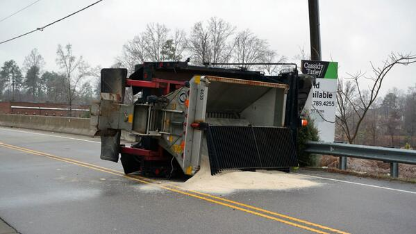If this can happen to a salt truck, you really think 4WD can help on ice? HT to @WRAL http://t.co/dIKYSANTfo
