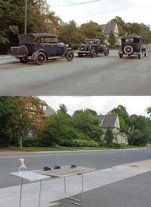 It is not Photoshop, nor a photo of the past, is just perspective: http://t.co/SF50CblfXE