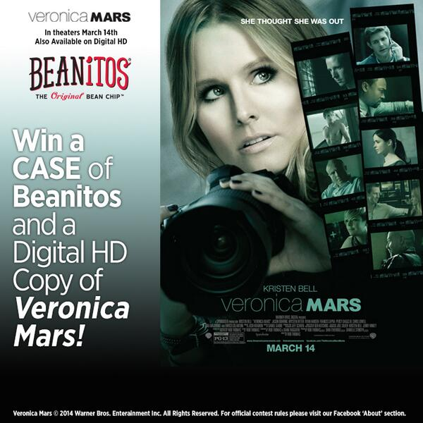 Tweet us for a chance to win Beanitos and a Digital HD copy of @VeronicaMars. Perfect movie night combo! http://t.co/qh4xW0egl5