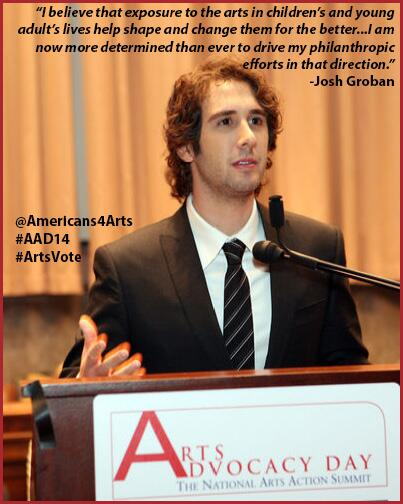 Join @joshgroban and @Americans4Arts, support the #arts during #AAD14 nxt wk 3/24-25 #ArtsVote http://t.co/5wYaCbDF1W http://t.co/bKemBFIjGj