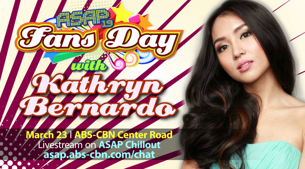 ASAP ABS-CBN (@ASAPOFFICIAL): #ASAPFansDay w/ @bernardokath this Sunday! WIN exclusive passes! Follow us, RT this & share ur bday wish for her! http://t.co/41sRibD5lF