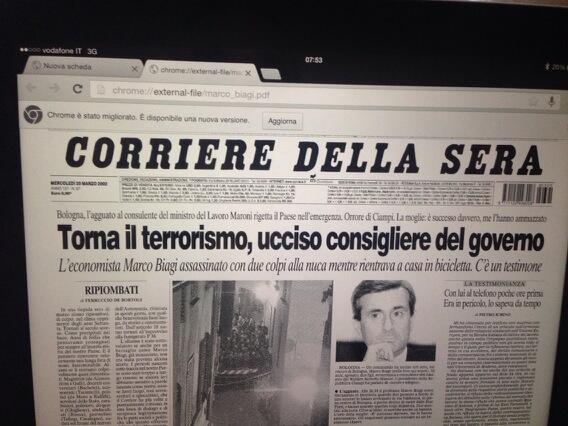 Marco Biagi/ la prima pagina del Corriere del 20 marzo 2002 http://t.co/BqflBsUTYB
