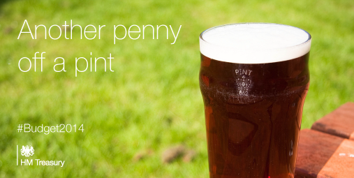 """Chancellor: """"Beer duty next week will not be frozen - it will be cut again by a penny"""" #Budget2014 http://t.co/IKTDLR9EHh"""