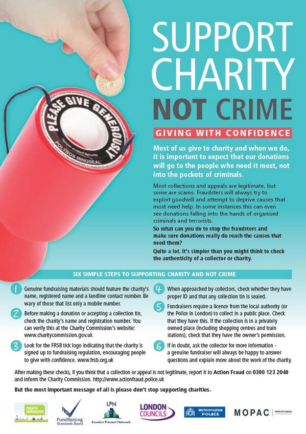 RT @MOPACLdn: Give with confidence and #supportcharitynotcrime @londoncouncils @LondonPrevent @metpoliceuk  action launches today http://t.co/OddgX9n7FX