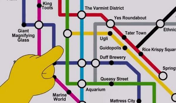 """The Simpsons"" unveils a new Springfield public transit map http://t.co/Rk16L6hfXN #maps http://t.co/aLkCOBjxNl"