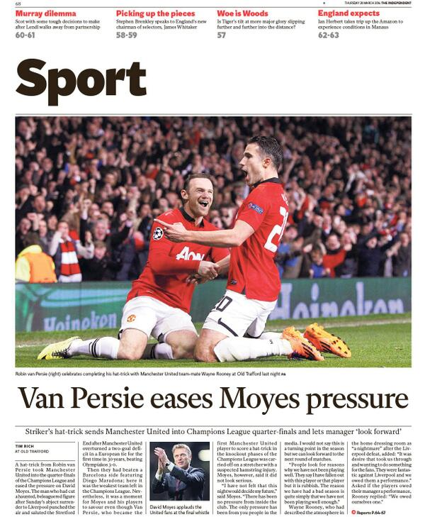 BjH mfLCAAAUJSg Saviour Robin van Persie keeps David Moyes his Man United job, for now [Thursdays Paper Pictures]