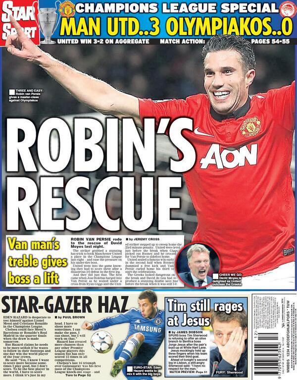 BjH6mfMIQAAEv2D Saviour Robin van Persie keeps David Moyes his Man United job, for now [Thursdays Paper Pictures]