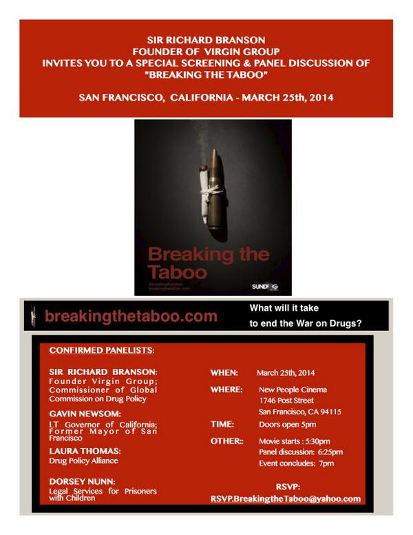 Will be joining @richardbranson next week to discuss the failed 'War on Drugs,' come listen! #breakthetaboo http://t.co/Ub3RwEgZ9Y
