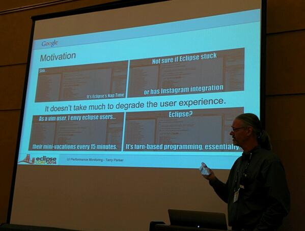 Nice Eclipse quotes to describe bad performance at #eclipsecon http://t.co/huXTCIbuqi
