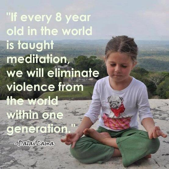 """If every 8 yr. old was taught meditation we'd eliminate violence from the world in ONE generation."" #30secondmom http://t.co/miDXduVR9p"