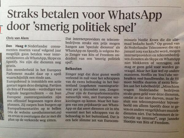 """WTF RT @koosdirkse: Straks betalen voor WhatsApp? #EU http://t.co/EfjdQT8Jjm"""""""