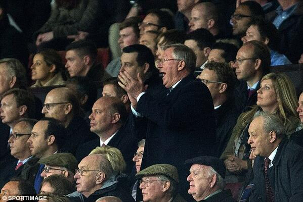 Great pic RT @RedMancunian: Sir Alex getting behind Manchester United in the stands at Old Trafford last night #MUFC http://t.co/sfVeD4ukFo