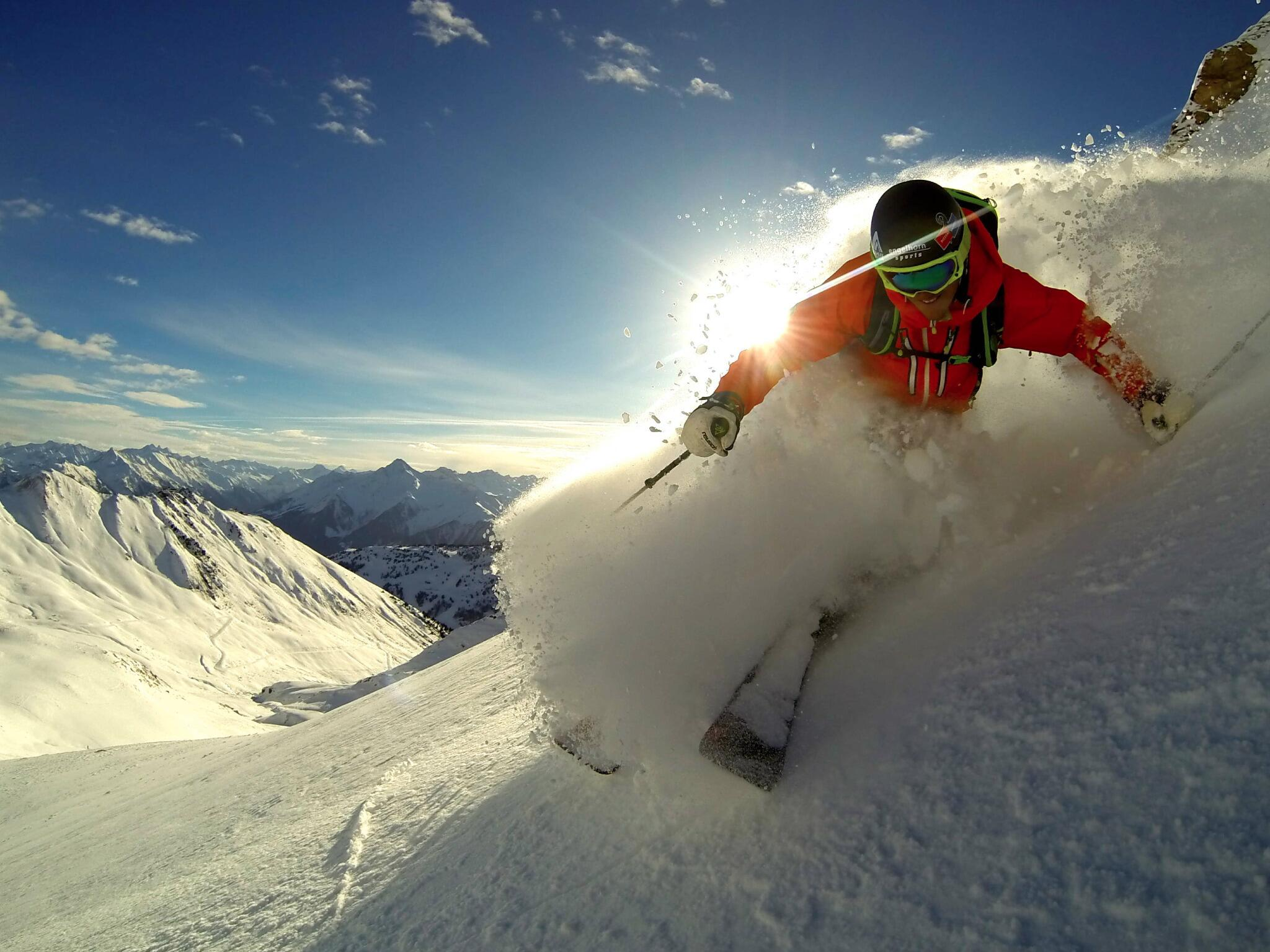 Photo of the Day! Felix Wiemers carves it up on a bluebird day in the Tyrolean Alps during the @FreerideWTour. http://t.co/8eNaJiwvFJ
