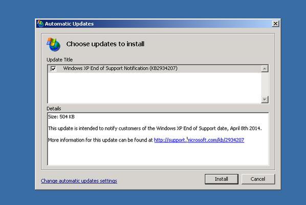 This is an update to tell you that you won't be getting any more updates. Long Live XP! http://t.co/wsFfL9Y9Zr