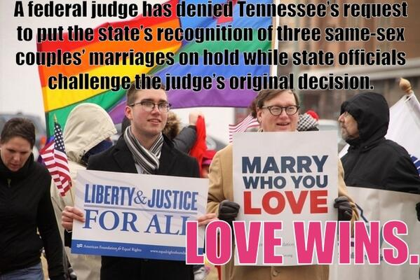 Poor Tennessee.  Now they have three happily married gay couples.  How will they survive?  :) http://t.co/hfNp7wmcll