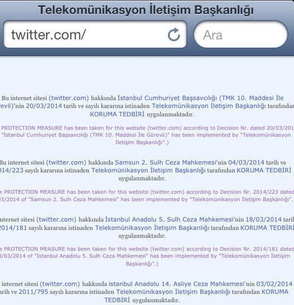Twitter is banned in Turkey a couple minutes ago @mashable @cnnbrk @Reuters @BBCBreaking @BreakingNews http://t.co/Kf5PpZYBfX
