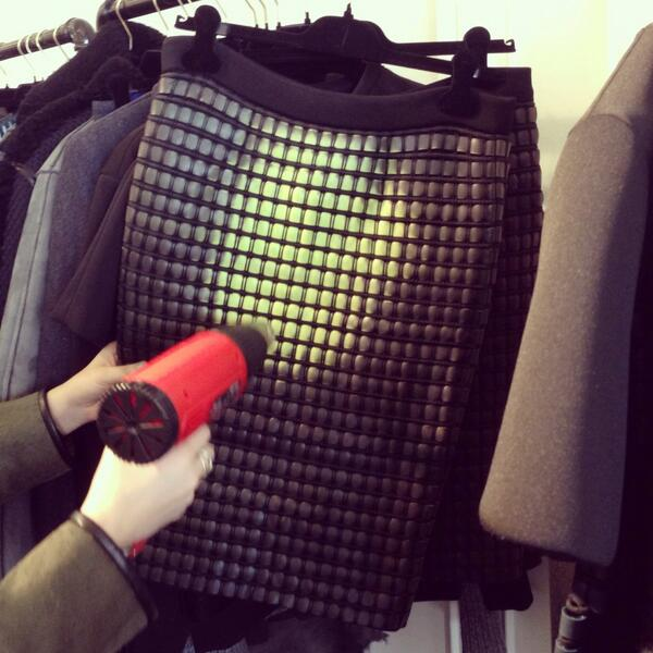 It's getting hot in here. Heat sensitive skirt at @AlexanderWangNY. Blow torch (unfortunately) not included.