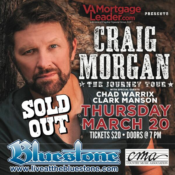 @cmorganmusic @ChadWarrix @ClarkManson officially SOLD OUT. Doors 7PM! See you tonight! http://t.co/eSH906Twyw