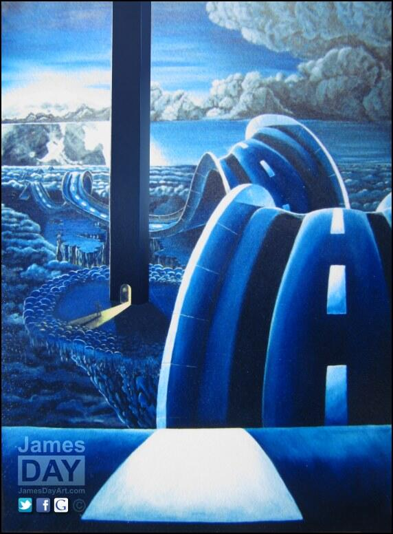 """Highway through the clouds ~ acrylic on canvas 36x48"""" ~ a #painting I did in 1993 (old photo). #surreal #art #dreams http://t.co/ngdvoSX03q"""