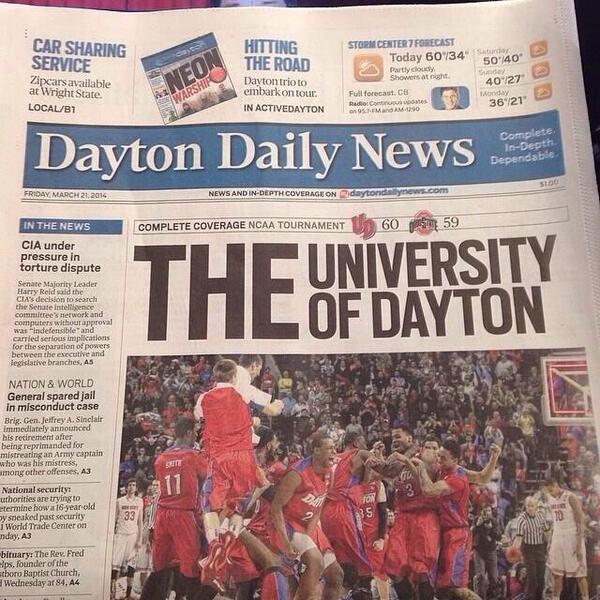 Perfect. Nameless editor I salute you. RT @Sean__Reed: Dayton newspaper today. http://t.co/oxmTQ7JPiu