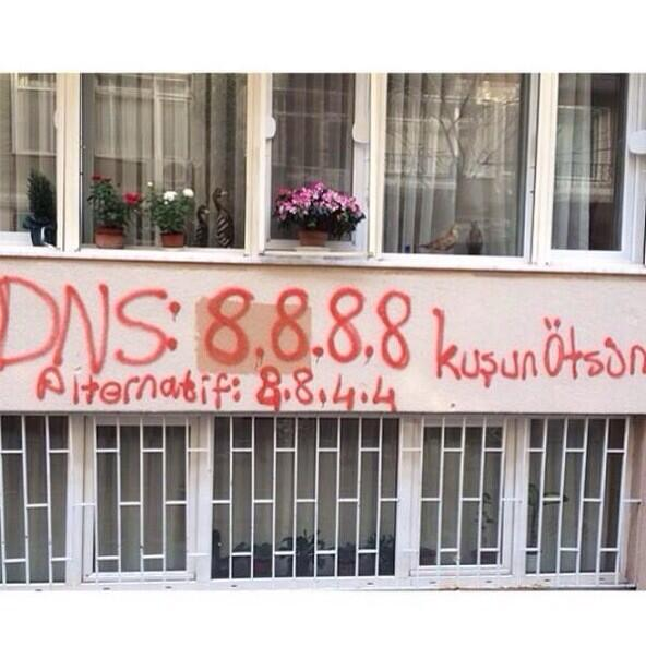 Usually I'm anti-graffiti, but… RT @igaln: Loving all the #DNS Graffiti all over #turkey to access blocked Twitter https://t.co/hiIXALAyRL