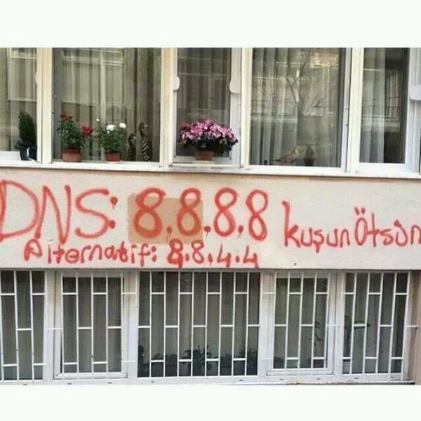 Twitter is blocked in Turkey. On the streets of Istanbul, the action against censorship is graffiti DNS addresses. http://t.co/XcsfN7lJvS