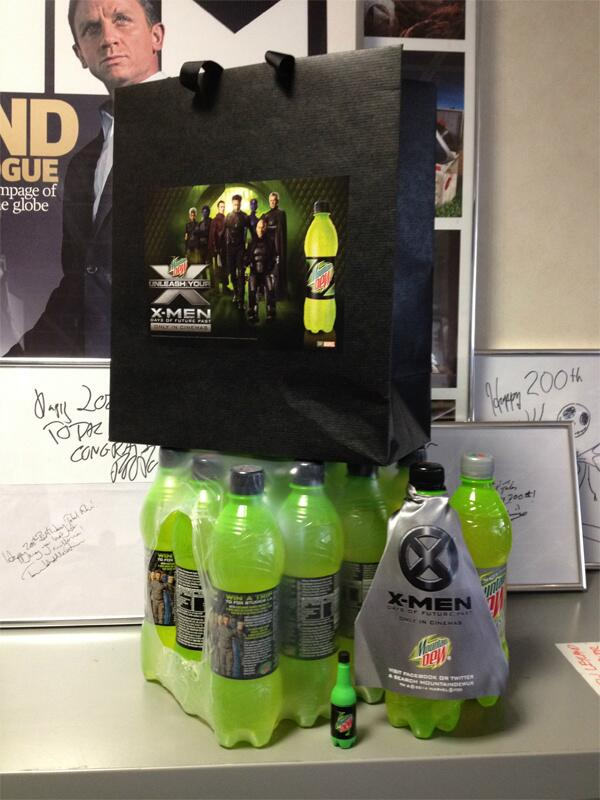 The X-Men stopped by with some Friday afternoon fizz – and a nifty little USB stick... #DewXMenDOFP http://t.co/rjdY26ymW0