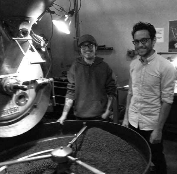 Linea coffee roasting. Friday March 21,2014. @bustedknuckle_ + Hector Coronado. @andrewbbarnett http://t.co/LIyi7Yuf58