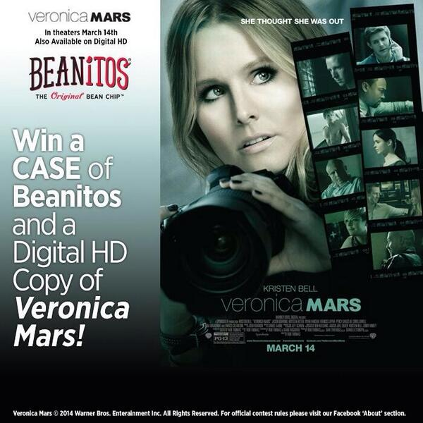 Tweet us for a chance to win Beanitos and a Digital HD copy of @VeronicaMars. Perfect movie night combo! http://t.co/uG547jFOAU