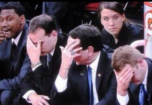 Best photo of #Duke bench. RT @drew: That just happened. #Duke http://t.co/FNYzKUW5Oz