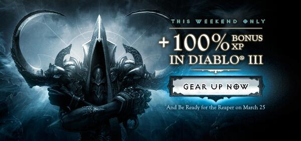 And then...we doubled it. This weekend only, earn +100% bonus XP in #D3! →  http://t.co/N1wjCSPck8 #D3RoS http://t.co/Wotrl40RFh