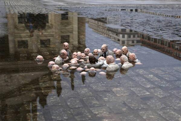 "Terrific. RT @RachelHarger: Fantastic sculpture by Cordal in Berlin called ""Politicians discussing global warming."" http://t.co/ZU0fYD5WDX"