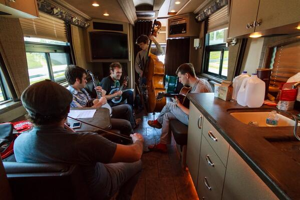 Ever tried playing bass on a moving bus? @punchbrothers band practice on the way to today's show in Florida ☀️ http://t.co/ybEcZ3GjAD