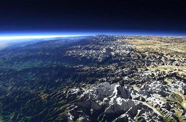 The Himalayas from space: http://t.co/Q2tfEVBy7O