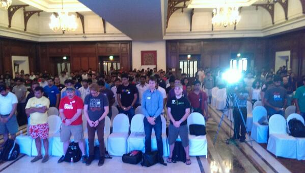 Moment of silence for @jimweirich at @rubyconfindia. His spirit is still with us. http://t.co/g7s9YMUdKq