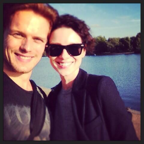 Sam Heughan (@Heughan): This was a special day for us, way back in London before the start.  Today is another! X @caitrionambalfe http://t.co/L8Ln4tL2Bq