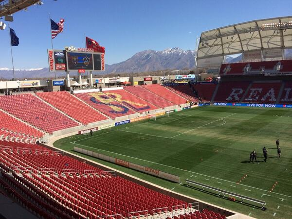 View from the booth. @RealSaltLake vs @LAGalaxy 4pm ET @NBCSportsSoccer @NBCSN #RSLvLA @MLS http://t.co/0QrdNco0hR