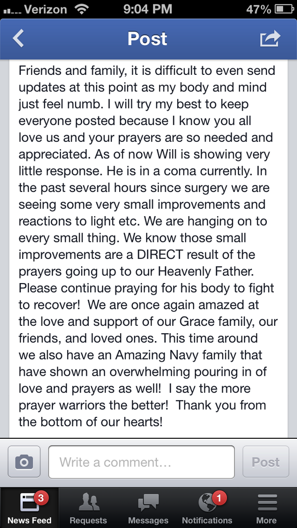 Update on Will McKamey, from his mother - http://t.co/xebRqTRo6O