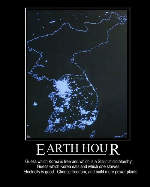 North Korea celebrates #EarthHour all night, every night. Sitting in the dark won't save the planet but freedom can. http://t.co/n8sk9jM3H6