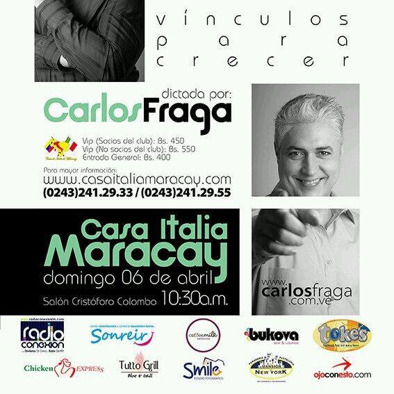 #Maracay Nueva Conferencia d @fragacarlos en @casaitaliamcy  Dom 6 d Abril 10.30am Entradas venta bs550vip 400 gral http://t.co/O2apJBsTAN