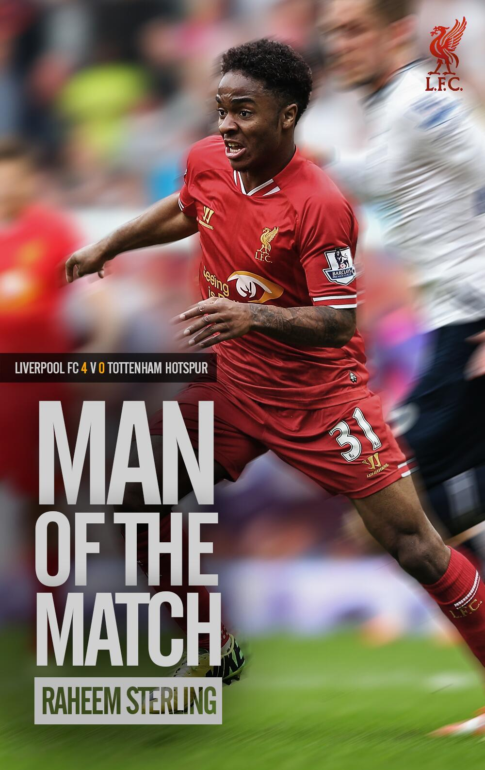 Congratulations to @sterling31 who you voted as #LFC's Man of the Match for his outstanding display against Spurs http://t.co/dNph3bLfbl