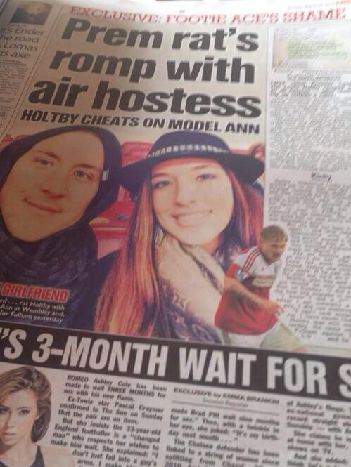 BjaFtaVIgAE1xmg Tottenhams Lewis Holtby caught playing away, cheats on model girlfriend with air hostess [Sun & Bild]