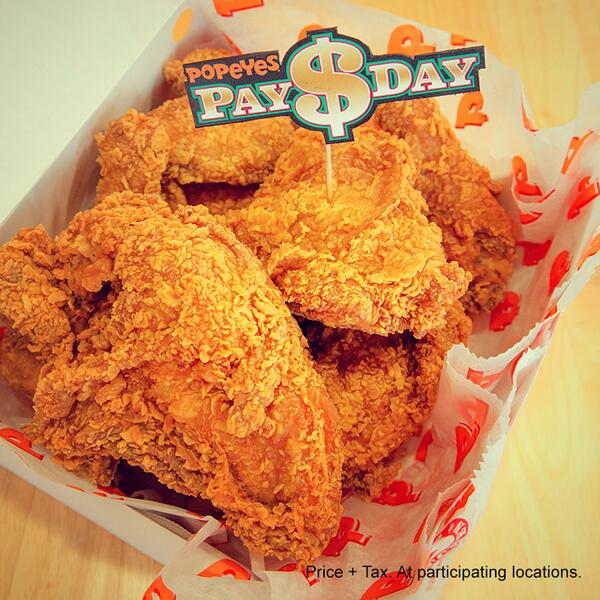 This Wednesday, hump day meets #PayDay at Popeyes. Get 8 mixed pieces of Bonafide chicken for $5.99! http://t.co/ZVNb0KiPiK