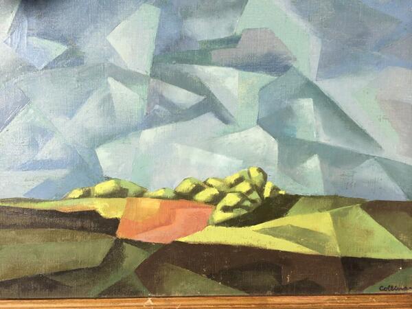 #art Cubist Landscape painting 1952. Artist: Collins. Anyone know anything? Estate find. #antiques #antiquesroadshow http://t.co/cVZWtCOuxI