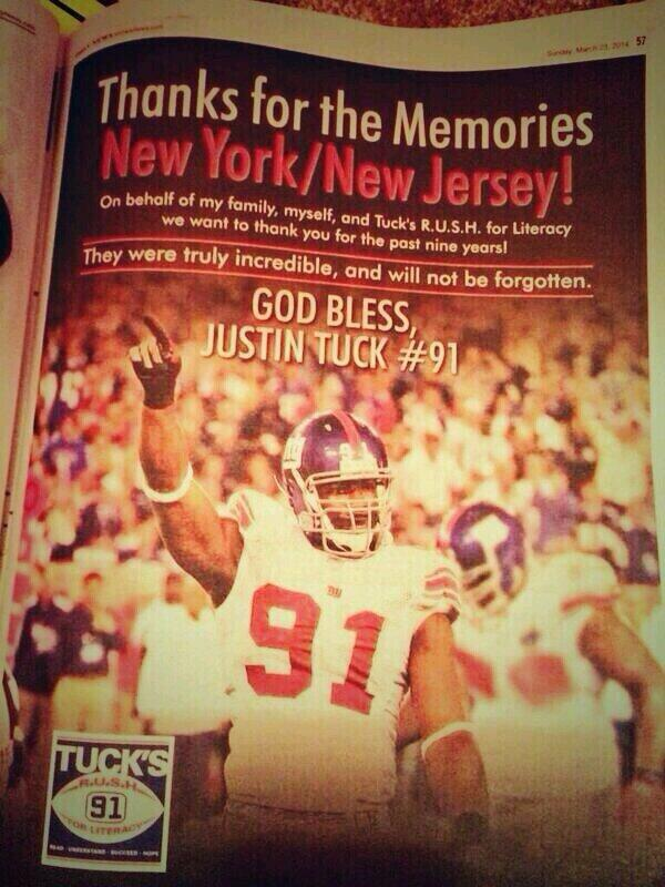 No surprise @JustinTuck took an ad in today's @NYDNSports ... Classy act by a first class gentleman! http://t.co/YiHgpLIy1v