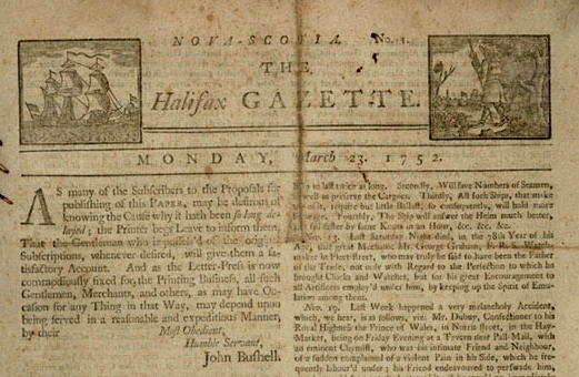 Canada's first newspaper appeared 262 year ago today in Halifax (and was just two pages long) http://t.co/KaBGfIeObh http://t.co/SQV5FvMw2a