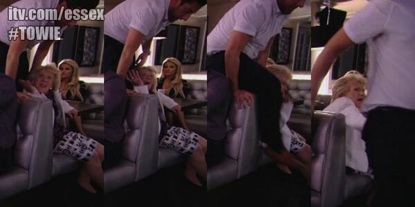Wow! Who do we side with? Elliott? Ricky? Nope, Nanny Pat. @RealJamesArgent nearly crushed her! #TOWIE http://t.co/vi5YGtuoQy