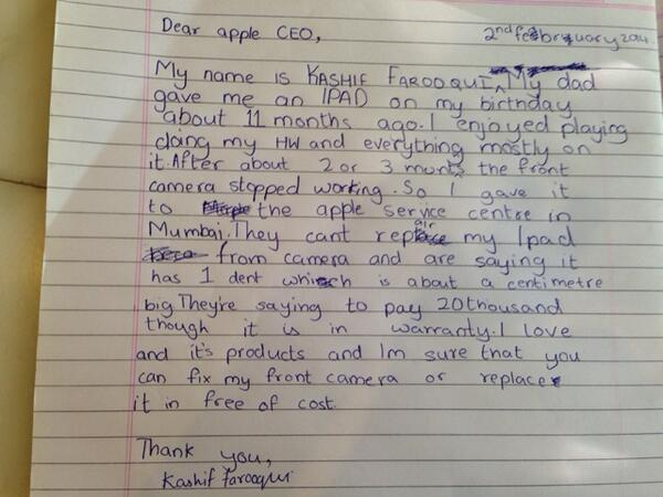 My 9yr old asked me to post this handwritten note when #Apple refuses to repair or replace his iPad http://t.co/NwLLDGqsoT